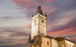 Old Town City Hall in Prague (Night view), view from Old Town Square, Czech Republic Royalty Free Stock Photos