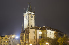 Old Town City Hall in Prague (Night view), view from Old Town Square, Czech Republic Stock Photography