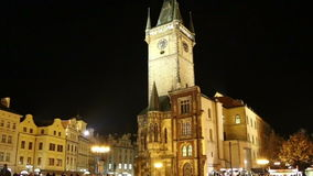 Old Town City Hall in Prague Night view, view from Old Town Square, Czech Republic stock video