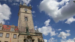 Old Town City Hall in Prague, view from Old Town Square, Czech Republic.  stock video footage