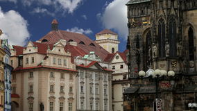Old Town City Hall in Prague, view from Old Town Square, Czech Republic stock video