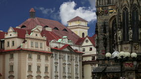 Old Town City Hall in Prague, view from Old Town Square, Czech Republic stock footage