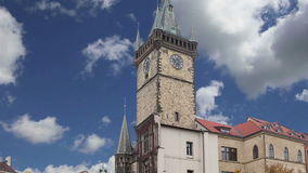 Old Town City Hall in Prague, view from Old Town Square, Czech Republic stock video footage