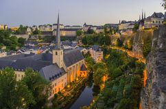Old town of the City of Luxembourg. Old town (grund) of the City of Luxembourg - dawn Royalty Free Stock Photography