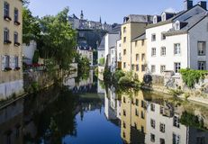 Old town of the City of Luxembourg. Old town (grund) of the City of Luxembourg and reflection in the rivver Stock Photos