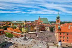 Old Town in City of Warsaw in Poland. Old Town of Warsaw aerial view of capital city of Poland, HDR technique royalty free stock photography