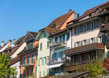 Old town of the city of Zug in Switzerland. Buildings of the historic part of the city of Zug in Switzerland. The city of Zug is the capital of the Swiss canton Stock Photos