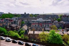 Old town cityscape from Edinburgh Castle in Scotland. In the UK royalty free stock photo