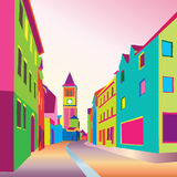 Old town cityscape with street. Sketch of historic building and house. Pedestrian street in the old european city. Hand drawn colourful sketch in 1906s pop art vector illustration