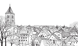 Old town cityscape with street. Sketch of historic building and house. stock illustration