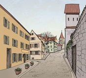 Old town cityscape with street. Sketch of historic Royalty Free Stock Photo
