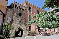 Old Town in Civitavecchia. Civitavecchia Rome ItalySaffi Square and its historic city center with its archery and pedestrian walkway stock photo