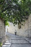 Old town cobbled street in ancient jerusalem city israel Stock Images