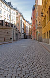 Old town cobblestone street. Old town cobblestone street in Stockholm stock photo