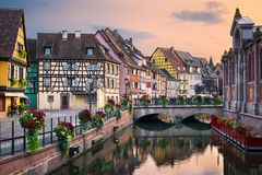 Old town of Colmar, Alsace, France stock images