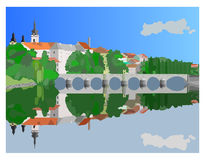 Old town. In color and detail illustration Royalty Free Stock Image