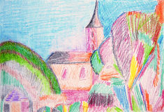 Old town. Color watercolor pencil painting. Royalty Free Stock Photo