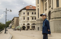 Old Town in Constanta, Romania. Young boy smiling. Stock Image