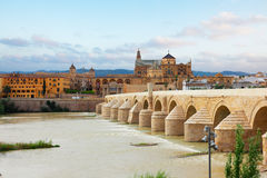 Old town of Cordoba, Spain. Old cathedral and roman bridge with Guadalquivir river, Cordoba, Andalusia, Spain stock photo