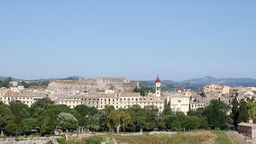 Old town Corfu and fortress cityscape stock footage