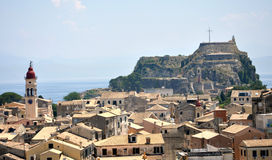 Old Town of Corfu and strength, Greece. View of the old town of Corfu and strength, Greece Stock Images
