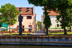 Old town district with vintage residential buildings. Klaipeda, Lithuania. Stock Image