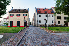 Old town district with vintage residential houses. Main city quay. Klaipeda, Lithuania. Royalty Free Stock Photos