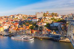 Old town and Douro river in Porto, Portugal. Royalty Free Stock Image