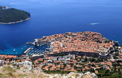 Old town of Dubrovnik. Dubrovnik old town aerial shot from the Srd hill royalty free stock image