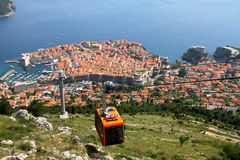 Old town Dubrovnik with cable car Stock Photography