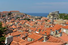 Old town of Dubrovnik. High view on the roofs of Dubrovnik Old Town, Croatia Royalty Free Stock Photography