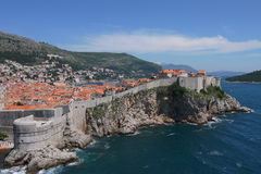Old Town of Dubrovnik. If you climb to the top of Lovrijenac Fort, just outside the old town of Dubrovnik you can get a great view of the 16th Century city walls Stock Images