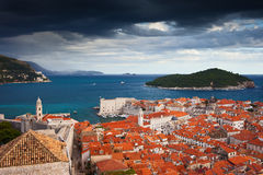 Old Town of Dubrovnik and Lokrum Island Royalty Free Stock Photos