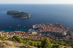 Old Town of Dubrovnik and Lokrum Island from above Royalty Free Stock Photos