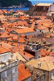 Old town of Dubrovnik near the sea, portrait. View over Dubrovnik old town from Croatia, surrounded by the blue Mediterranean Sea, island at the back Royalty Free Stock Photos