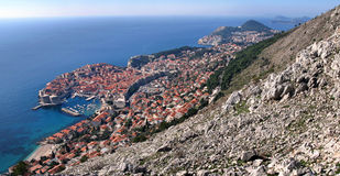Old town Dubrovnik under the hill Royalty Free Stock Photo