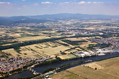 Old town of Eddersheim on river Main with watergate Royalty Free Stock Images