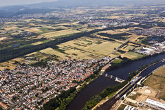 Old town of Eddersheim on river Main with watergate Stock Photos