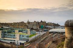 Old town Edinburgh and Edinburgh castle Royalty Free Stock Photography