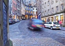 Old Town in Edinburgh. UK, Scotland, Edinburgh, Old Town, Twilight view of the Victoria Street Stock Photos
