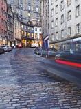 Old Town in Edinburgh. UK, Scotland, Edinburgh, Old Town, Twilight view of the Victoria Street Royalty Free Stock Photos