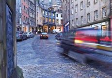 Old Town in Edinburgh. UK, Scotland, Edinburgh, Old Town, Twilight view of the Victoria Street Royalty Free Stock Photography
