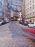 Old Town in Edinburgh. UK, Scotland, Edinburgh, Old Town, Twilight view of the Victoria Street Royalty Free Stock Photo