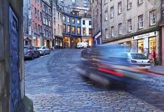 Old Town in Edinburgh. UK, Scotland, Edinburgh, Old Town, Twilight view of the Victoria Street Stock Photography