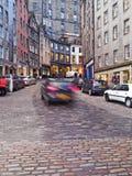 Old Town in Edinburgh. UK, Scotland, Edinburgh, Old Town, Twilight view of the Victoria Street Stock Images