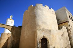 Old town of El Jadida, Morocco. Fortress and Mosque minaret in old town of El Jadida, Portuguese town, Mazagan (listed as World Heritage by UNESCO), Morocco Stock Photos