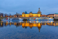 Old Town and Elba at night in Dresden, Germany Stock Photo