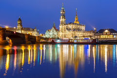 Old Town and Elba at night in Dresden, Germany Stock Photos