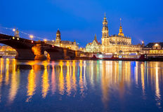 Old Town and Elba at night in Dresden, Germany Royalty Free Stock Photos