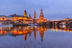 Old Town and Elba at night in Dresden, Germany Stock Photography